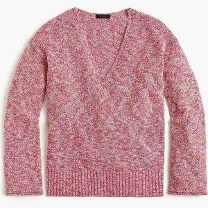 J.Crew Flared-sleeve V-Neck Marled Swing Sweater